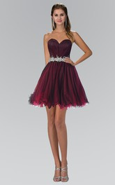 A-Line Mini Sweetheart Tulle Lace-Up Dress With Ruching And Waist Jewellery