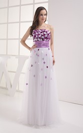 Two-Tone Tulle Floor-Length Dress with Pleats and Floral Top