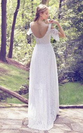 Vintage Lace Floor-Length Wedding Dress With Low-V Back And Sweep Train
