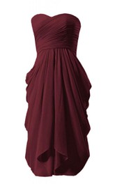 Strapless Chiffon Dress With Ruched Bodice