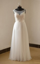 A-Line Tulle Lace Satin Weddig Dress With Beading