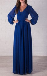 Bridesmaid Cobalt Blue Chiffon Maxi Formal Party Floor Length Dress