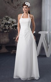 Chiffon Side-Draped A-Line Maxi Dress with Appliques and Halter