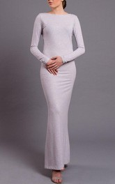 Floor-length Scoop Jersey Dress With Split
