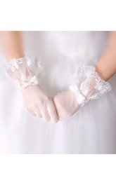 Short Summer White Lace Satin Gloves