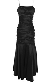 Sleeveless Trumpet Gown With Beadings and Pleats