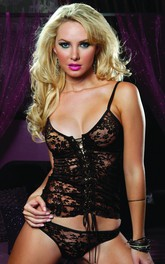 Front Straps Corset Sexy Black Lace Lingerie With T-back