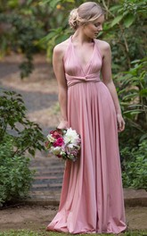 Sleeveless Ruched Halter Chiffon Bridesmaid Dress With Straps