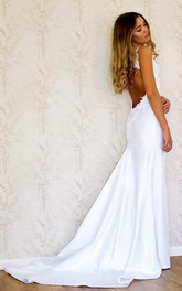 Plunged Spaghetti Sheath Satin Backless Wedding Dress With Sweep Train