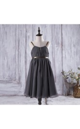 2018 Charcoal Gray Spaghetti Strap a Line Knee Length Chiffon Flower Girl Dress