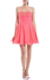 Strapless Coral Short Chiffon Dress