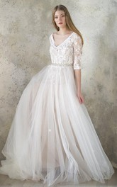 V-Neck 3-4 Length Sleeve Tulle Sequined Satin Beaded Lace Button Wedding Dress