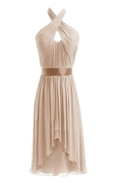 Sleeveless Short Chiffon Dress With Crisscross Neck