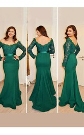 Mermaid Off-the-shoulder Long Sleeves Applique Floor Length Satin Dress