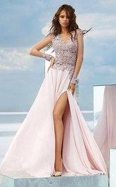 A-line Floor-length V-neck Long Sleeve Chiffon Low-V Back Dress