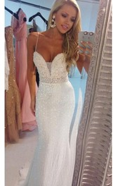 Delicate Beadings Sequins Mermaid Wedding Dress 2018 Spaghetti Strap