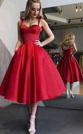 Sexy 1950 Sweetheart Tea-length Dress With Straps And Ruching