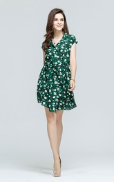 Floral Print Surplice Neck A-Line Mini Dress