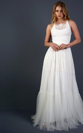 Scoop Neck Sleeveless A-Line Lace and Tulle Wedding Dress