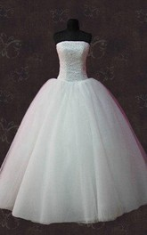 Strapless Lace-Up Back Tulle Wedding Dress With Beading And Crystal Detailing