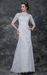Gorgeous Long Sleeve Pleated Long Lace Dress With High Neck