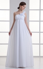 One-Shoulder Empire Chiffon Long Maternity Wedding Dress with Flower