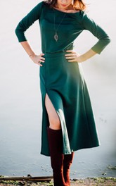 Casual Midi Green With Slit Dress