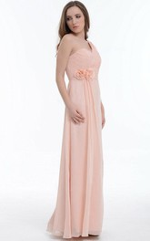A-line Floor-length One-shoulder Chiffon&Satin Dress With Flower&Ruffles