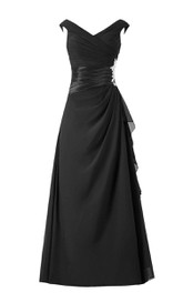Brilliant V-neck Chiffon Long Dress With Asymmetric Drapping