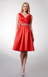 Criss-cross Bodice Knee-length A-line Satin Dress With Shiny Sash