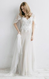 Ethereal V-Neck Bat Sleeve Tulle Dress With Pleats And Appliques