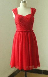 Red Open Back Chiffon Knee Length Dress