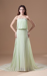 strapless a-line long pleated dress with sweep train and beading