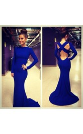 Sexy De Soiree Robe Mermaid Evening Dress 2018 High Neck Criss Cross Backless Royal Blue Prom Dresses With Long Sleeve