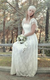 Boho Lace Bridal Gown Romantic Style With Cap Sleeves and Pleats