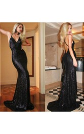 Black Sequin Mermaid Sparkly Sexy Backless Party Dress