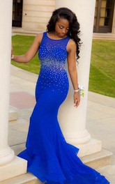 Sexy Royal Blue Mermaid Beadings Prom Dress 2018 Open Back
