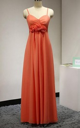 Sleeveless Floor-length Dress With Spaghetti Straps and Flowers