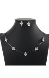 Minimalistic Flower Rhinestone Design Necklace and Earrings Jewelry Set