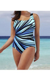Plus Size Stripped One Piece Swimsuit