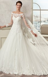 Off-Shoulder Long-Sleeve A-Line Bridal Gown With Illusive Design And Brush Train