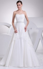 Strapless Appliqued A-Line Gown with Jeweled Waist