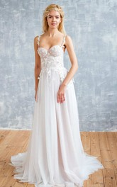 Spaghetti Sleeveless A-Line Pleated Backless Wedding Dress