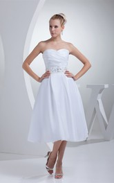 Sweetheart Tea-Length A-Line Dress with Ruching and Jeweled Waist
