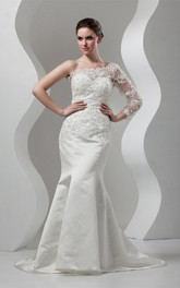 Asymmetrical Mermaid Appliqued Gown with Illusion One Sleeve