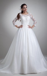 A-Line Pleated Lace Ball Gown with Illusion Long Sleeves