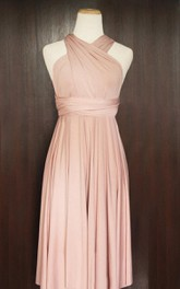 Short Nude Pink Infinity Multiway Convertible Wrap Dress