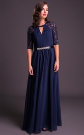 A-Line Appliqued Scoop-Neck Floor-Length Half-Sleeve Chiffon Prom Dress With Waist Jewellery And Bow
