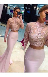Column Long Sleeves Lace Sweep Brush Train High Neck Satin Two Piece Dress