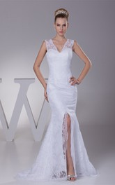 Caped-Sleeve V-Neck Mermaid Dress with Appliques and Front Slit